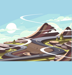 Mountain asphalt road serpentine vector