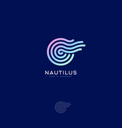 Nautilus logo spiral shell spa resort emblem vector