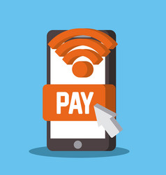 near field communication mobile phone payment vector image
