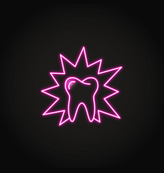 Neon aching tooth icon in line style vector