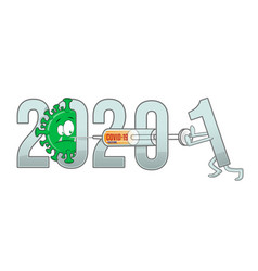 New year from 2020 to 2021 text with covid-19 vector