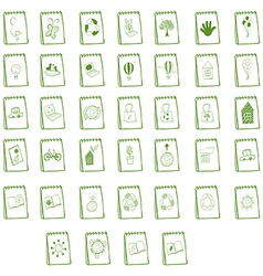 Notebooks with eco-friendly logo designs vector image
