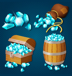 old wooden chest barrel old bag with gems vector image