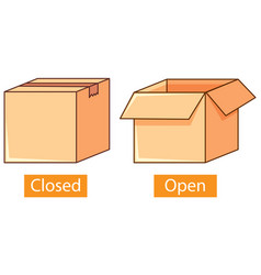 Opposite adjectives words with closed and open vector