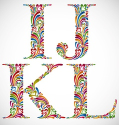 Ornate alphabet letters i j k l vector