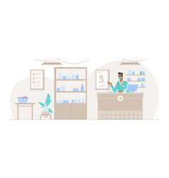 pharmacy interior with male pharmacist counter vector image