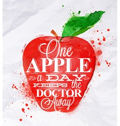 Poster watercolor apple red vector image