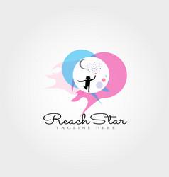 Reach star logo design vector