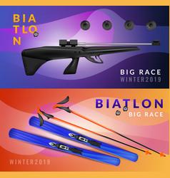 realistic biathlon banner set vector image