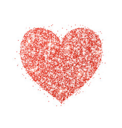Red glitter heart frame border dust vector