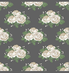 retro floral seamless pattern white roses on dark vector image