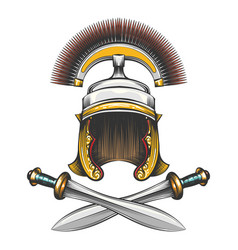 Roman empire helmet with swords vector