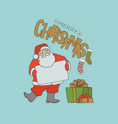 santa claus with blank poster for congratulations vector image