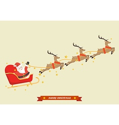 Santa Claus with Reindeer Sleigh vector image