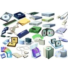 set - computer world accessory vector image