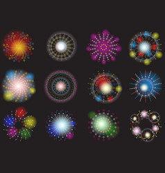 Set different colored fireworks vector