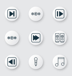 Set of 9 music icons includes audio buttons skip vector