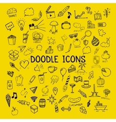 Set of doodle icons hand-drawn objects on vector image