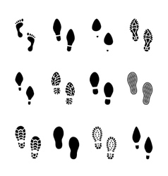 Set of footprints and shoeprints icons vector image