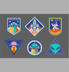 set patches or sticker on space topic vector image