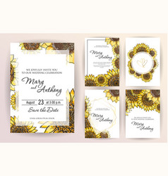 set wedding invitation card flowers sunflower vector image