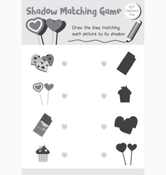 Shadow matching game valentine candy colorless vector