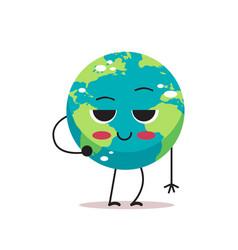 shy cute earth character cartoon mascot globe vector image