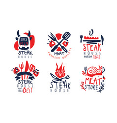 steak house labels collection fresh meat premium vector image