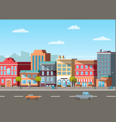 street with buildings and cars on roads vector image