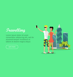travelling banner in flat style people make vector image