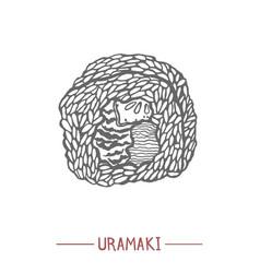 uramaki in hand drawn style vector image