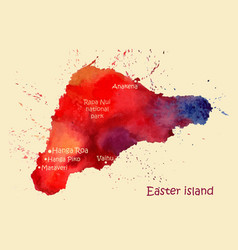 Watercolor map easter island with localities vector