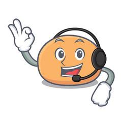 With headphone mochi mascot cartoon style vector
