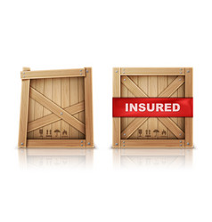 Wooden box damaged and with insurance vector