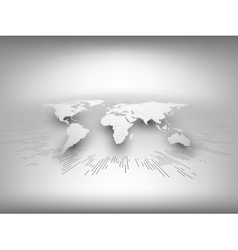 World map template in perspective on gray vector image