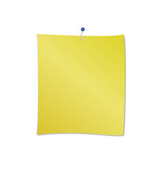 yellow note pad with blue pin attached vector image