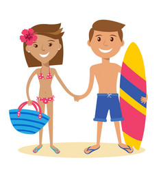 adult couple standing on the beach vector image