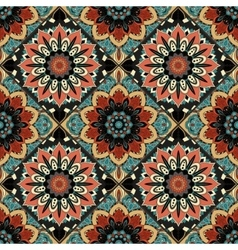 Flower Pattern Boho Brown Blue vector image