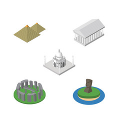 isometric travel set of egypt chile athens and vector image vector image