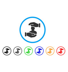 user care hands rounded icon vector image