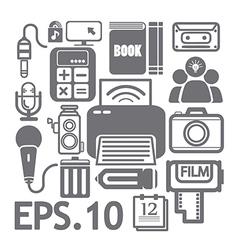 web media icons set vector image