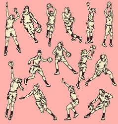 Woman Basketball Action Sport vector image vector image