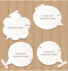 Wooden background with speech bubbles vector image vector image