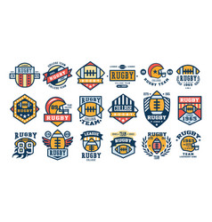 college rugby team logo design set sport retro vector image vector image