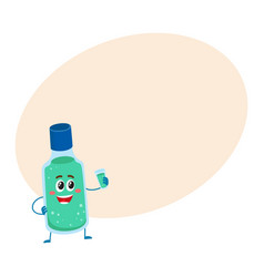 cute and funny dental mouthwash mouth rinse vector image