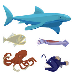 deep sea dangerous unusual creatures isolated vector image vector image