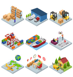different types warehouse 3d icons set isometric vector image vector image