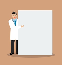 Doctor pointing to the billboard vector image vector image