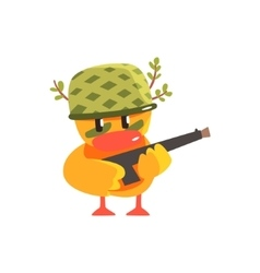 Duckling Soldier Cute Character Sticker vector image vector image