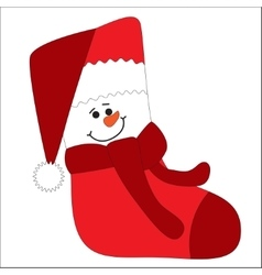 Funny character snowman on sock vector image